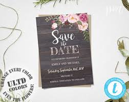 save the date template rustic save the date etsy