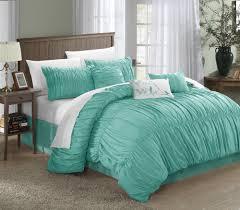 aqua ruffle comforter com chic home francesca 7 piece comforter set queen blue