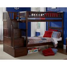twin loft bed with stairs storage drawers stair bunk schoolhouse