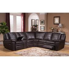 Reclining Sectional Sofas by Waverly Premium Top Grain Brown Leather Reclining Sectional Sofa