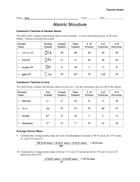 worksheet atomic structure teacher