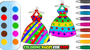 coloring pages dresses of princess u0026 drawing for children how to