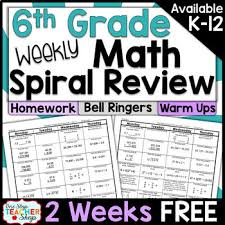 6th grade math spiral review 6th grade math homework 6th grade