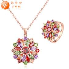 rose zircon necklace images Fym brand big flower jewelry set rose gold color multicolor aaa jpg