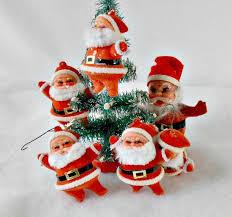 vintage ornaments lot of 6 flocked santa tree