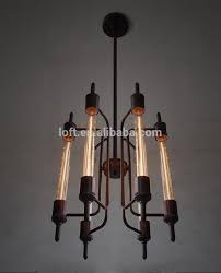 Vintage Wrought Iron Chandeliers Transformable Vintage Pendant Lamp Industrial Style Flute Shaped