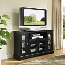 black wooden large media cabinet with using glass door combined