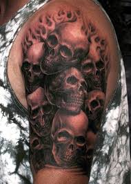 amazingly awesome horror flaming skulls design for