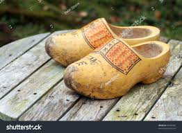 pair traditional dutch yellow wooden shoes stock photo 49720936