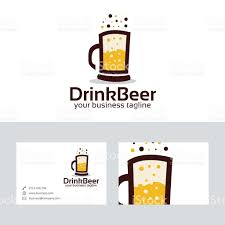 beer vector drink beer vector logo with business card template stock vector