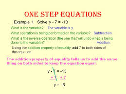 one step equations addition and subtraction equations