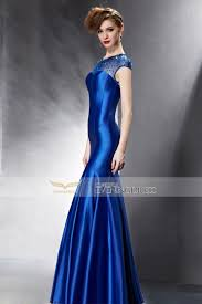 2015 summer bleu sweetheart beading tie back short sleeve mermaid