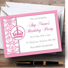 personalised halloween party invitations pink princess crown white personalised birthday children u0027s party