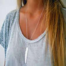 long silver fashion necklace images Vintage silver gold plated long feather pendant necklace jewelry jpg