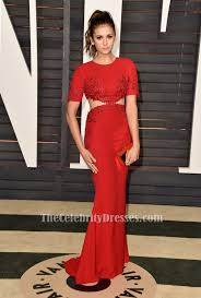 Vanity Fair Gowns And Robes Nina Dobrev Red Embroidered Evening Prom Dress Vanity Fair Oscar
