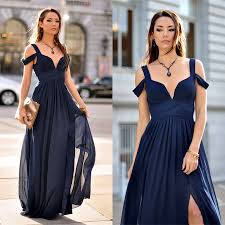 dress blue 2017 prom dress navy blue prom dress with side slit cheap
