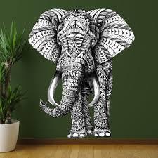 amazon com my wonderful walls animal art ornate elephant wall amazon com my wonderful walls animal art ornate elephant wall sticker decal by bioworkz medium black white green home kitchen