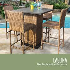 Outdoor Wicker Patio Furniture - tk classics laguna pub table set with barstools 5 piece outdoor