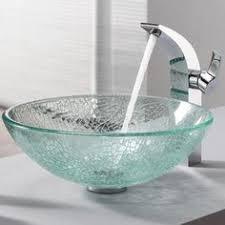 Clear Glass Bathroom Sinks - kraus broken glass vessel sink and ventus faucet brushed nickel