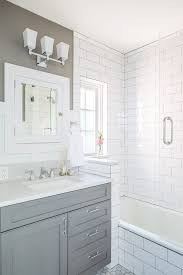 1930s bathroom ideas gray with white subway tiles in updated 1930s bathroom blue