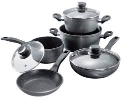 topf set stoneline cookware set set of 8 with glass lids stoneline