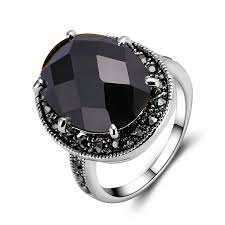 black stones rings images Fashion oval men rings carved simulated onyx black glaze band ring jpg