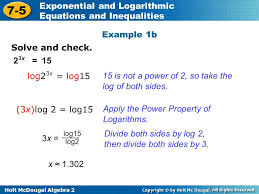 holt mcdougal algebra 2 7 5 exponential and logarithmic equations and inequalities solve and check
