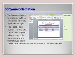 table tools design tab adding tables to slides lesson 5 software orientation tables are