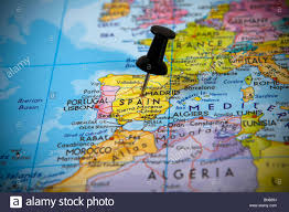 madrid spain map small pin pointing on madrid spain in a map of europe stock