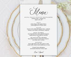editable menu template wedding menu template printable menu template sweet bomb