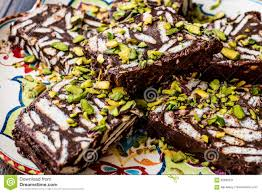 Chocolate Biscuit Cake Mosaic Chocolate And Biscuit Cake With Pistachio Stock Image