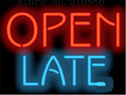shop open sign lights open late glass tube neon sign handcrafted light bar beer pub club