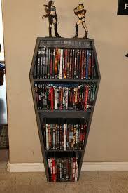 coffin bookshelf custom rustic handmade horror coffin shelf bookshelf dvd