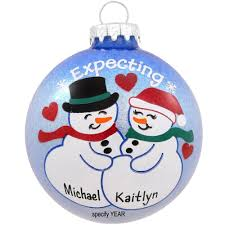 personalized expecting snowcouple glass ornament bronner u0027s