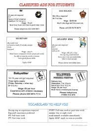 jobs and classified ads worksheet free esl printable worksheets