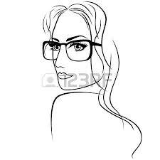 abstract attractive young woman half turn portrait with big eyes
