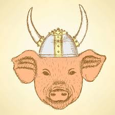 sketch pig in the viking helmet stock illustration image 43016013