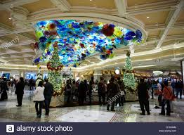foyer of the bellagio hotel and casino with trees las