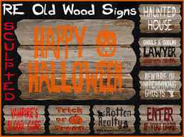 Halloween Decorations For Sale Second Life Marketplace Re Old Wood Halloween Sculpted Signs