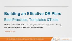 disaster recovery planning best practices templates and tools