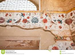 Beautiful Room Layer Crumbling Layer Of The Beautiful Persian Fresco With Birds In