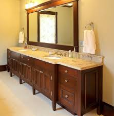 hand made double sink bath vanity by benchmark woodworks