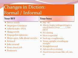 changes in language diction style of speaking or writing as