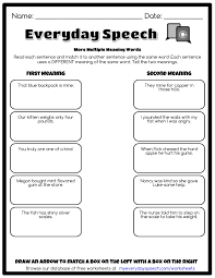 Meaning Words Worksheets More Meaning Words Everyday Speech Everyday Speech