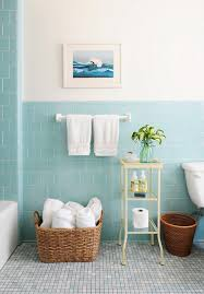 ideas for tiling a bathroom rue magazine pretty bathroom with aqua blue tiled half walls and