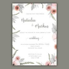 wedding invitation template wedding invitation template with pastel flowers vector free