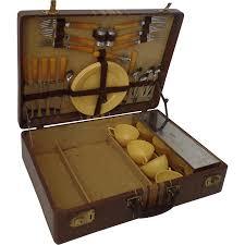 vintage picnic basket vintage 1940s picnic basket set suitcase yellow bakelite airstream