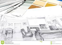 designers workplace with sketch and drawing tools stock photo