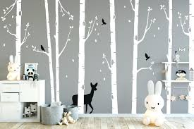Wall Decor Stickers For Nursery White Tree Wall Decal Nursery Theme Wall Decor Stickers