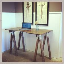 Simple White Desk Furniture Simple Sawhorse Desk With Drawers For Classic Desk